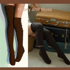 Peony & Moss Cable Thigh High Socks Over The Knee